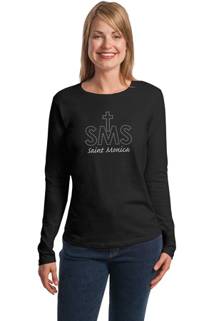 Long Sleeve T-Shirt with SMS in Rhinestones and Metallic Embroidered Logo