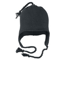Knit hat with ear flaps with embroidered logo