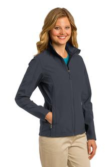 Ladies or youth soft shell jacket with embroidered logo