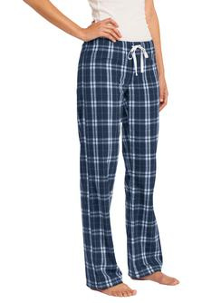 Juniors flannel plaid pant with embroidered logo
