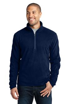 Men's 1/4 zip microfleece pullover with embroidered logo