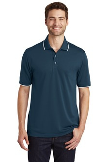 Men's dry zone UV tipped polo with embroidered logo
