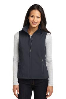 Ladies soft shell vest with embroidered logo