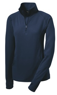 Ladies 1/4 zip performance pullover with embroidered logo